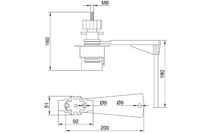 bloqueo-valvulas-brazo-unico-ifam-dimensiones
